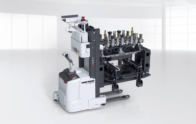 Das TH-AGV erlaubt den fahrerlosen Transport von bis zu 16 Werkzeugen an die jeweilige Maschine.