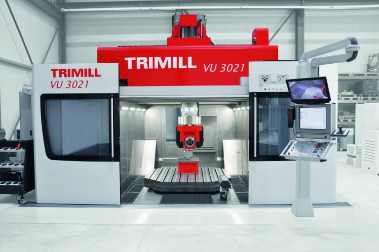 Die VU 3021 von Trimill ist 5-und 6-achsig mit Drehtisch und Gabelfräskopf ausgestattet und bietet eine Komplettbearbeitung in einer Aufspannung.