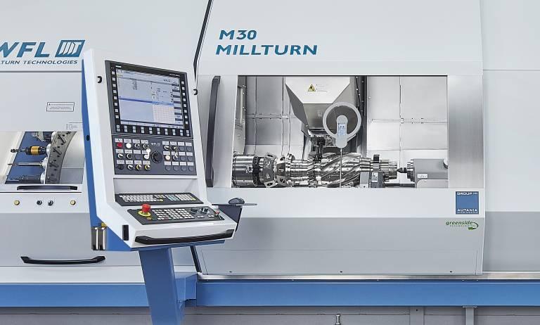 Die neue WFL M30 Millturn bei Wittmann Battenfeld: Mit einer Fräsleistung von 20 kW schafft das Dreh-Bohr-Fräszentrum Werkstücke mit einem Maximaldurchmesser von 520 mm und maximalen Bearbeitungslängen bis 2.000 mm effizient zu bearbeiten.