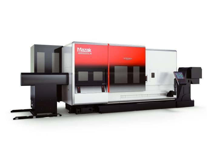 Die Maschinen der neuen Mazak-Maschinenserie INTEGREX i-H sind mit ihrem flachen Frontdesign und dem hinten angeordneten Werkzeugmagazin speziell für die Automatisierung konzipiert.